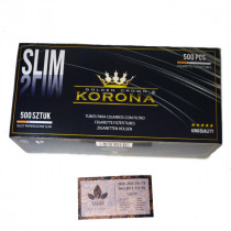 SLIM гильзы для табака, производство «KORONA» (Польша), 500 штук